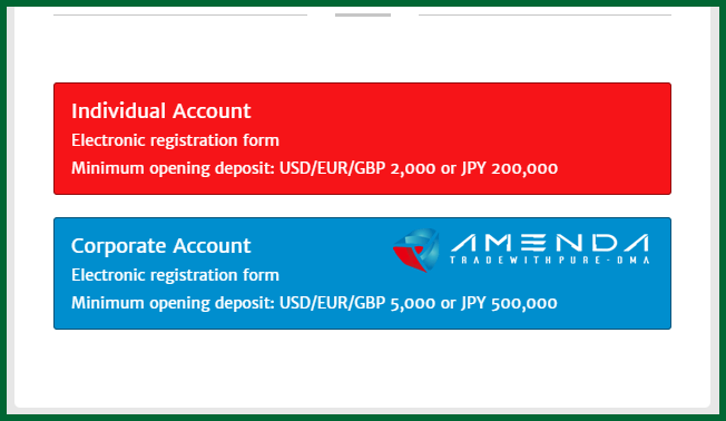 Amenda Forex Broker Account Types