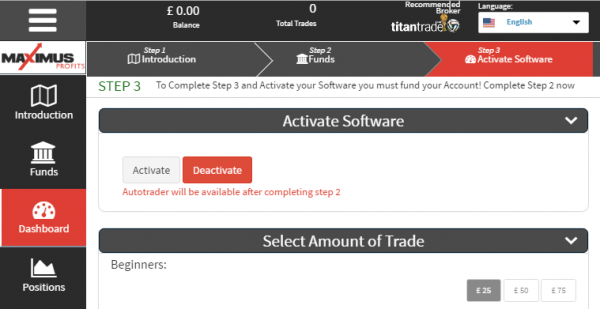Maximus Profits Software Settings
