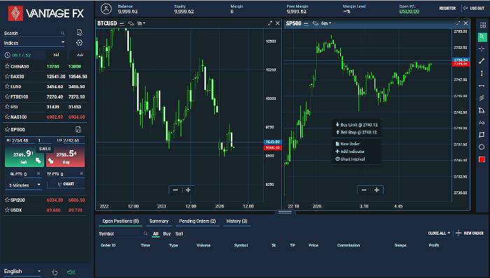 Vantage FX Market Trader App