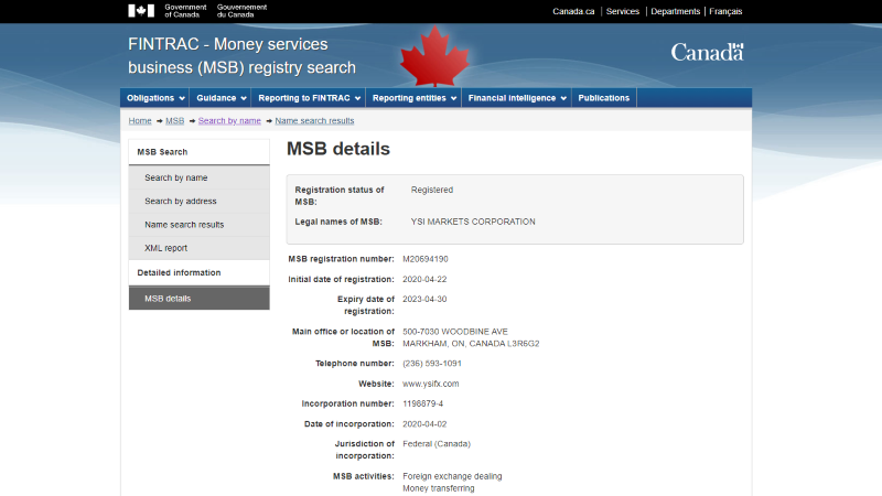 YSI Markets MSB License
