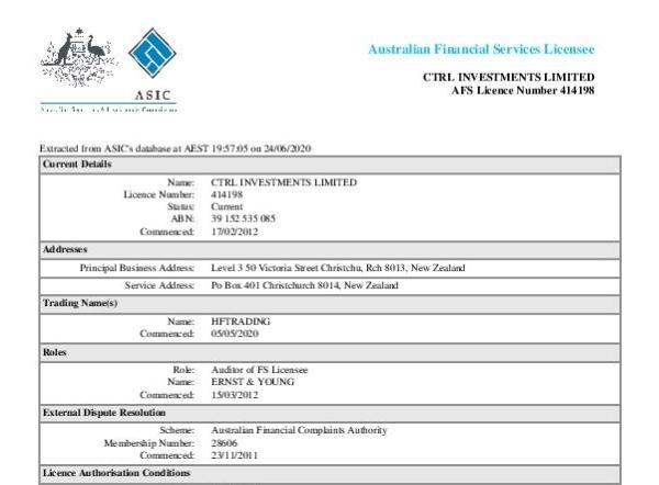 HFTrading Australia License
